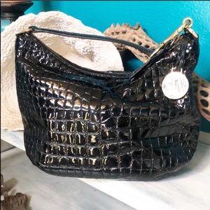 Stuart Weitzman Black Oaten Croc Print Bag